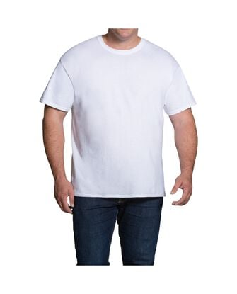 Men's Short Sleeve White Crew T-Shirts Extended Sizes, 3 Pack