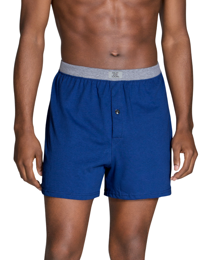 Men's Dual Defense Assorted Knit Boxers, 4 Pack, Extended Sizes Assorted