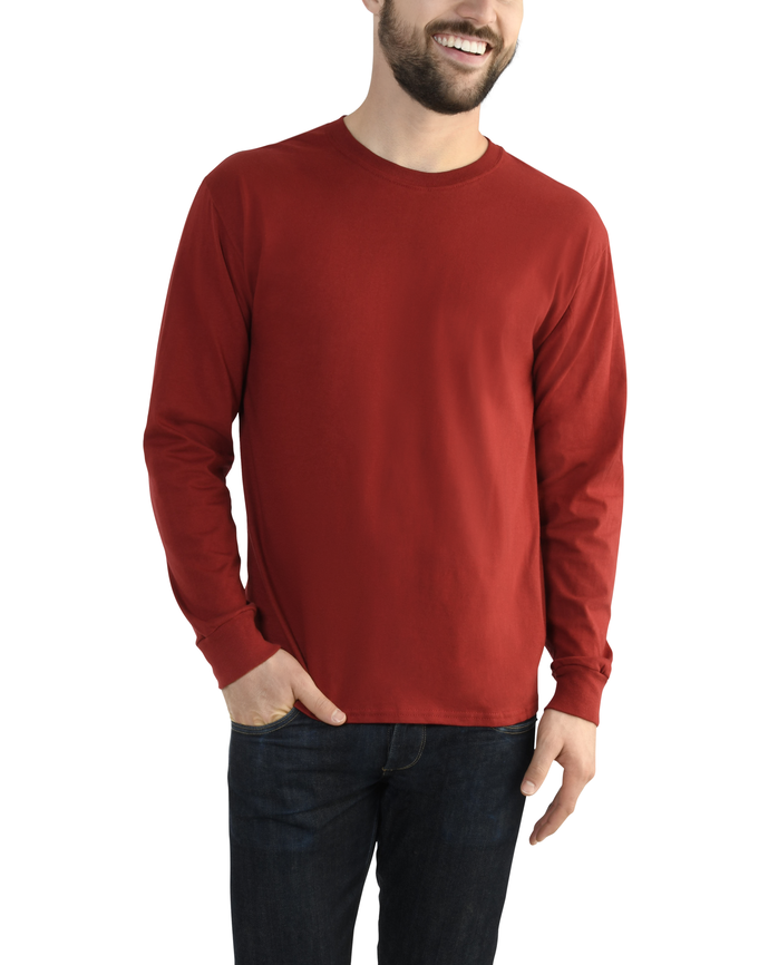 Fruit of the Loom Big Men's EverSoft Long Sleeve T-Shirt, Available up to size 4X