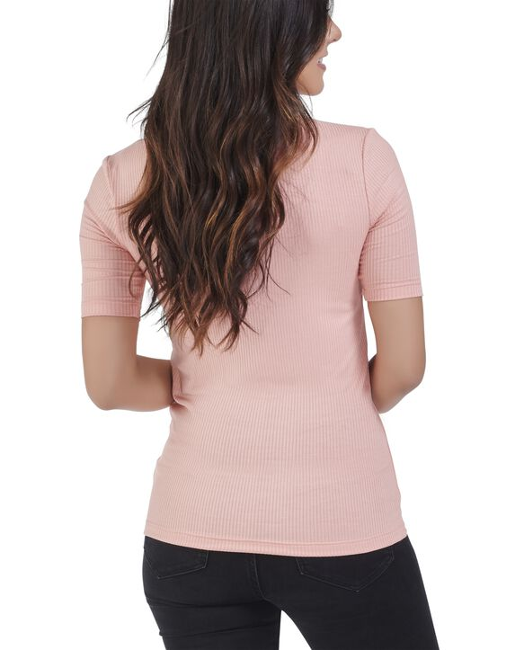 Women's Seek No Further Mock Neck Ribbed T-Shirt Dream Coral