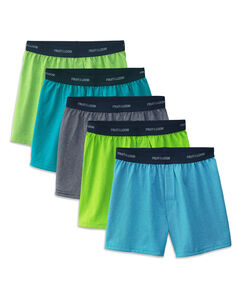 Fruit of the Loom Boys' Solid/Stripe Knit Boxer, 5 pack