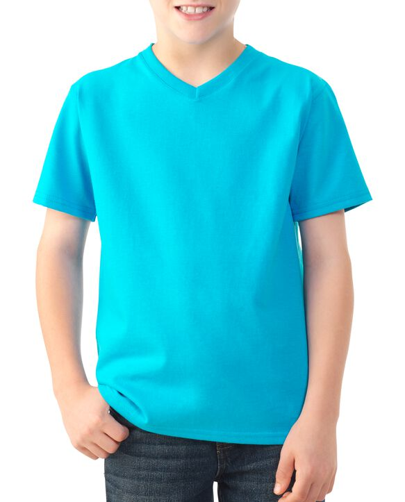 Boys' Short Sleeve V-Neck T-Shirt, 2 Pack Clear Turquoise