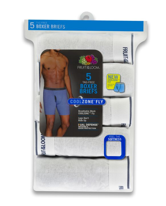 Men's CoolZone™ Fly White Boxer Briefs, 5 Pack WHITE