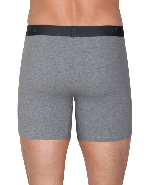 BVD Men's Black and Gray Boxer Brief, 6 Pack