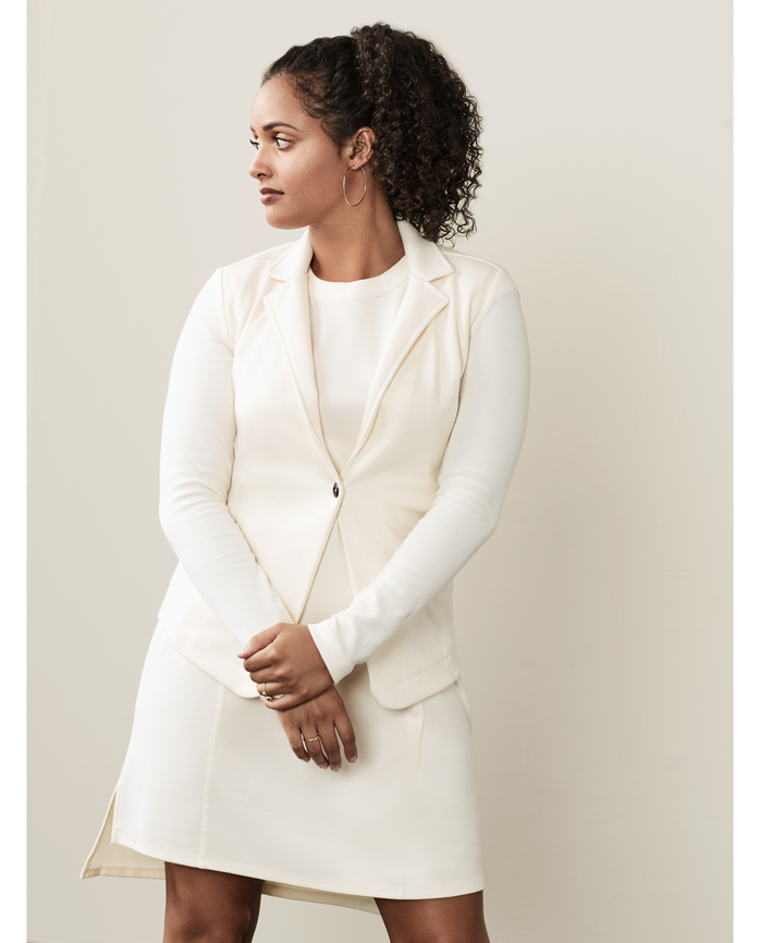 Women's Seek No Further Long Sleeve Open Front Fitted Blazer BF Ivory