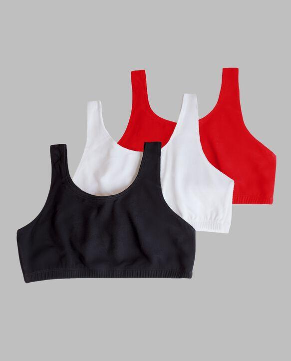 Women's Tank Style Sports Bra, 3 Pack RED HOT/WHITE/BLACK