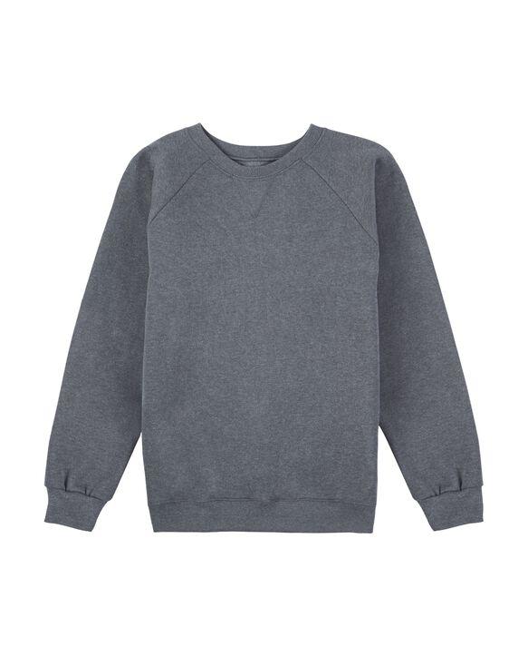 Boys' Fleece Raglan Crewneck Sweatshirt, 1 Pack Charcoal Heather