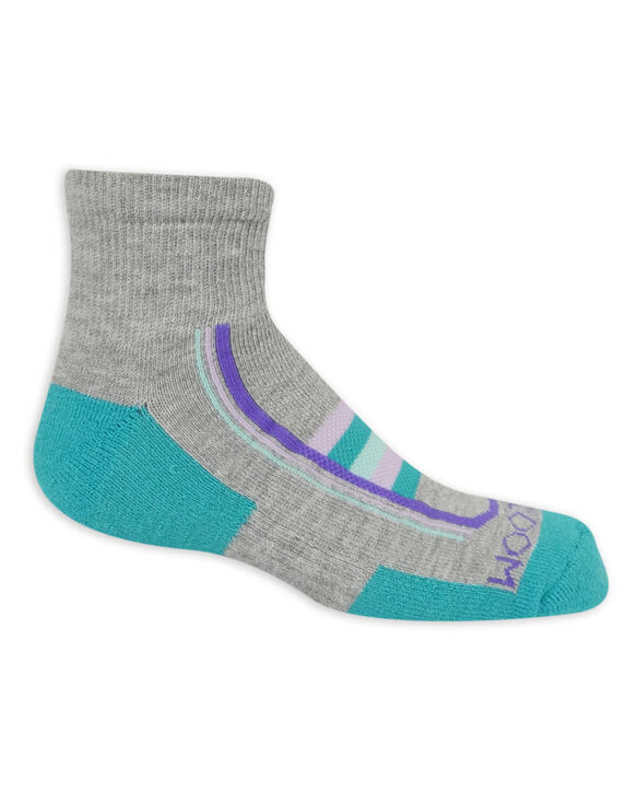 Girls' Active Cushioned Ankle Socks, 6 Pack GREY/PINK, GREY/BLUE, GREY/GREEN, PURPLE, WHITE/GREY, PINK