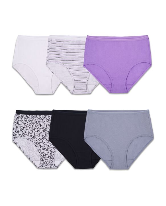 Women's Assorted Cotton Brief Panty, 6 Pack ASSORTED