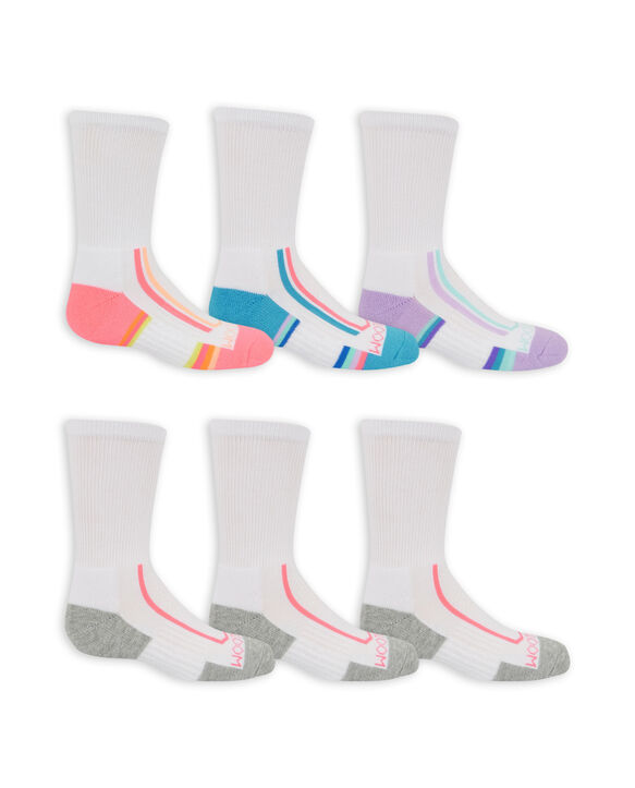 Girls' Active Cushioned Crew Socks, 6 Pack BRIGHT WHITE/SUGAR PLUM, BRIGHT WHITE/ATOL BLUE, BRIGHT WHITE/LAVENDULA,