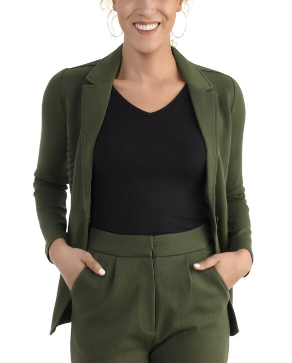 Women's Seek No Further Long Sleeve Open Front Fitted Blazer Military Green