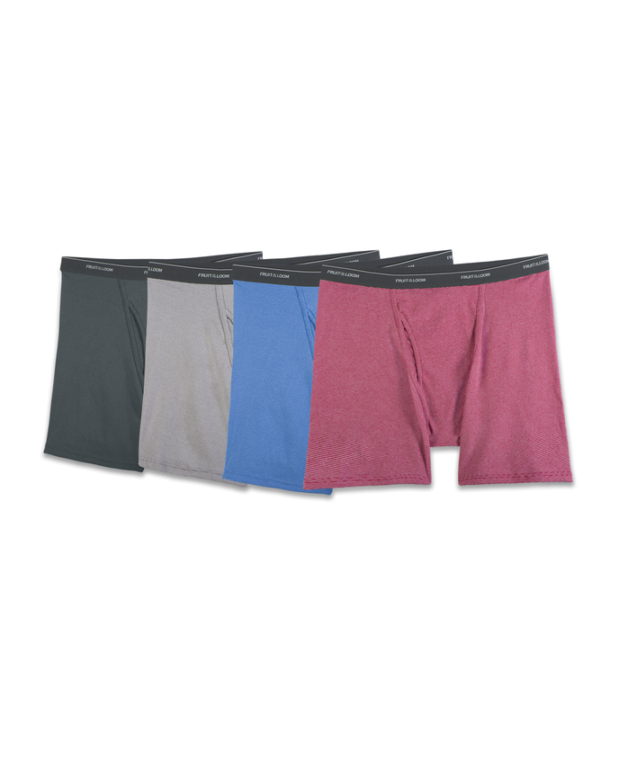Men's 4 Pack Stripe/Solid Boxer Briefs Extended Sizes