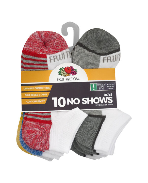 Boys' Cushioned No Show Socks, 10 Pack BRIGHT WHITE/HIGH RISK RED, BRIGHT WHITE/DIRECTOR BLUE, BRIGHT WHITE/LEMONCH, BRIGHT WHITE/MED GREY H, BRIGHT WHITE/VIBRANT ORANGE, BRIGHT WHITE/MED G
