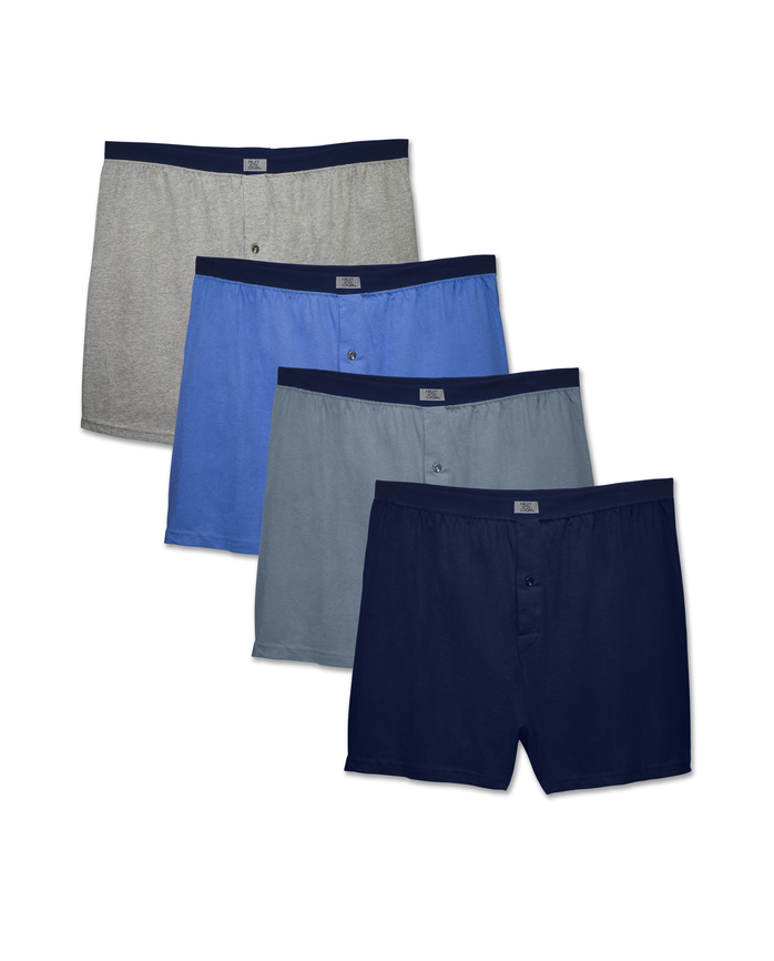 Men's Dual Defense Assorted Knit Boxers, 4 Pack, Extended Sizes