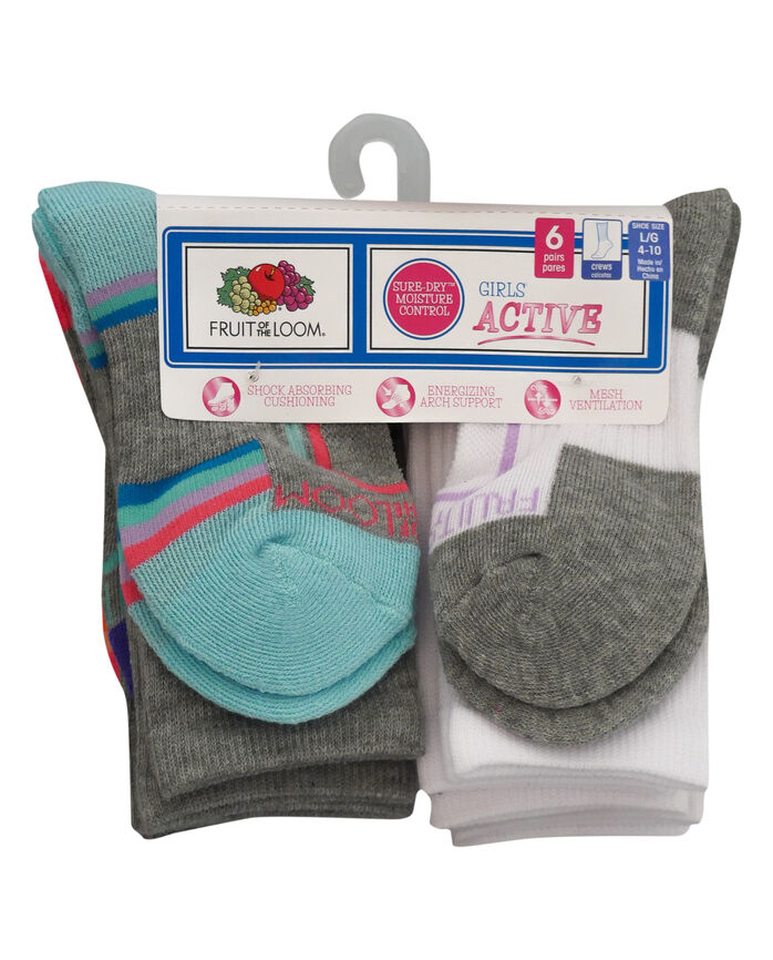 Girls' Active Cushioned Crew Socks, 6 Pack