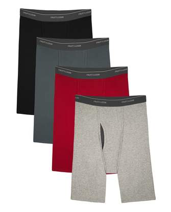 Men's CoolZone Fly Assorted Long Leg Boxer Briefs, Extended Sizes, 4 Pack