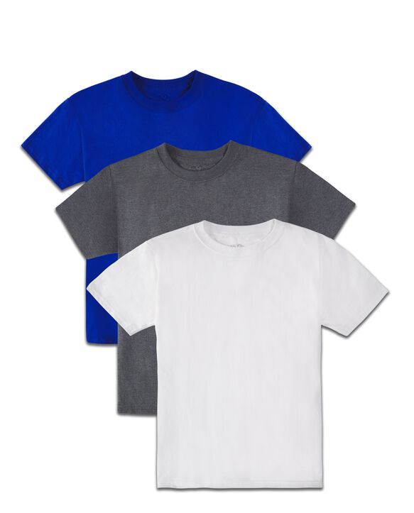 Boys' Super Soft Solid Multi-Color Short Sleeve Crew T-Shirts, 3 Pack Royal Asst.