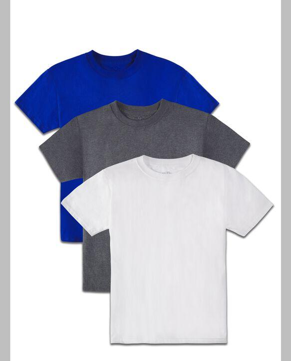 Boys' Super Soft Solid Multi-Color Short Sleeve Crew T-Shirts, 3 Pack Royal Asst.