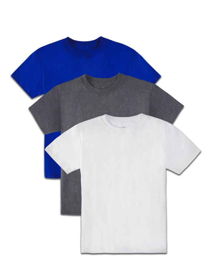 Boys' Super Soft Solid Multi-Color Short Sleeve Crew T-Shirts, 3 Pack