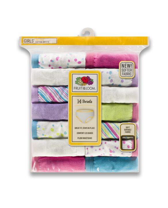 Girls' Assorted Cotton Brief, 14 Pack Stripes & Stars Assortment