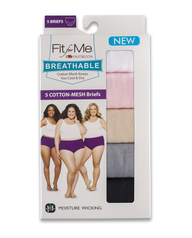 Fit for Me by Fruit of the Loom Women's Breathable Cotton-Mesh Brief, 5 Pack Assorted