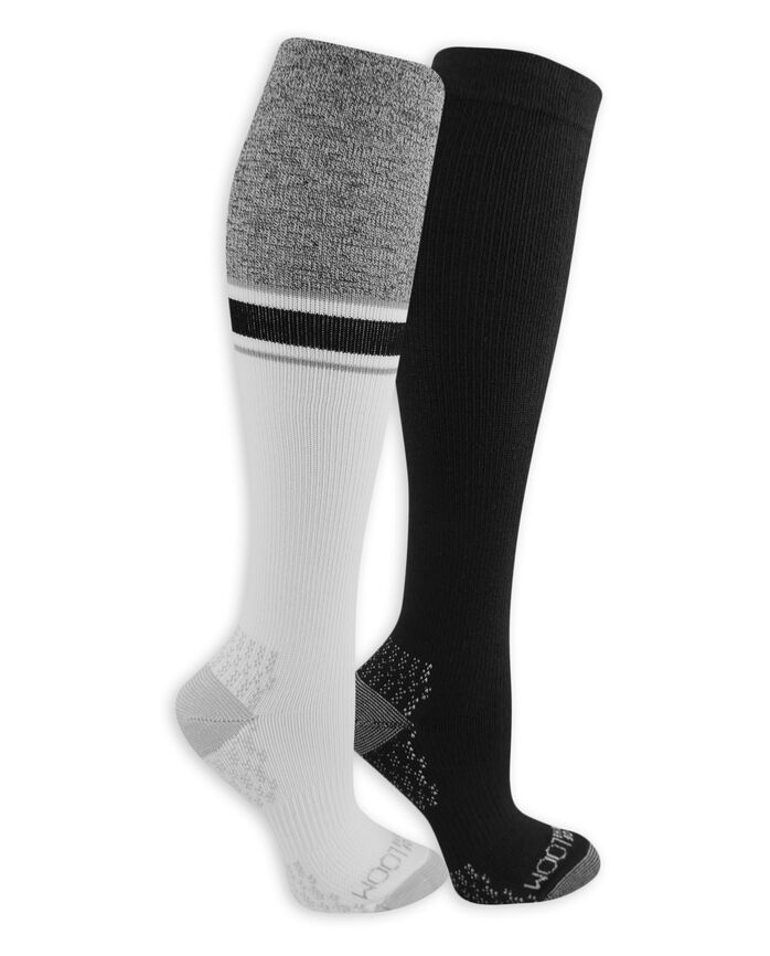 Women's On Her Feet Lightweight Compression Knee High Socks, 2 Pack, Size 4-10 WHITE, BLACK