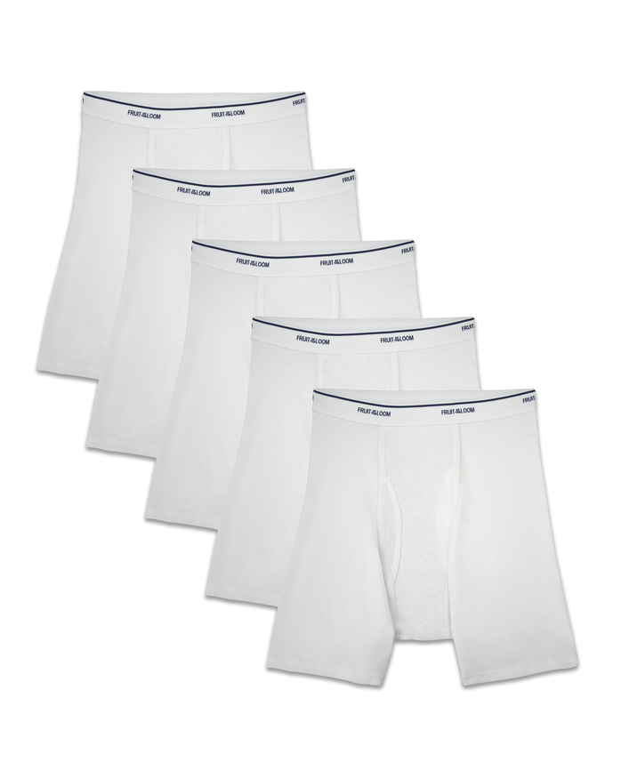 Men's COOLZONE White Boxer Briefs, 5 Pack