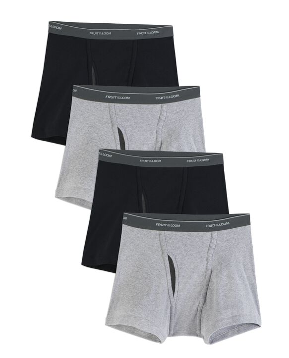 Men's CoolZone Fly Short Leg Boxer Briefs, Extended Sizes, 4 Pack ASSORTED