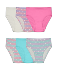 Fruit of the Loom Toddler Girls' 6 Pack Assorted Flexible Fit Briefs