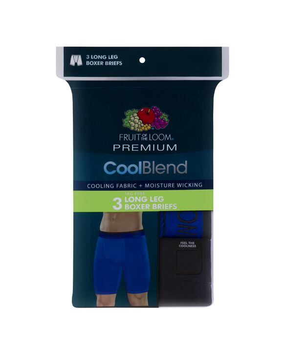 Fruit of the Loom Premium Men's Cool Blend Long Leg Boxer Briefs, 2 Pack - Assorted
