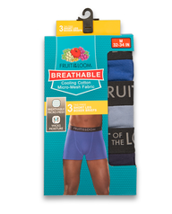 Men's Breathable Black and Gray Short Leg Boxer Brief, 3 Pack Assorted