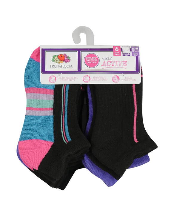 Girls' Active Cushioned Low Cut Socks, 6 Pack BLACK/PURPLE, BLACK/PINK, BLACK/BLUE, BLACK, PURPLE