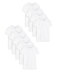 Men's Short Sleeve White Crew T-Shirts, 9 Pack