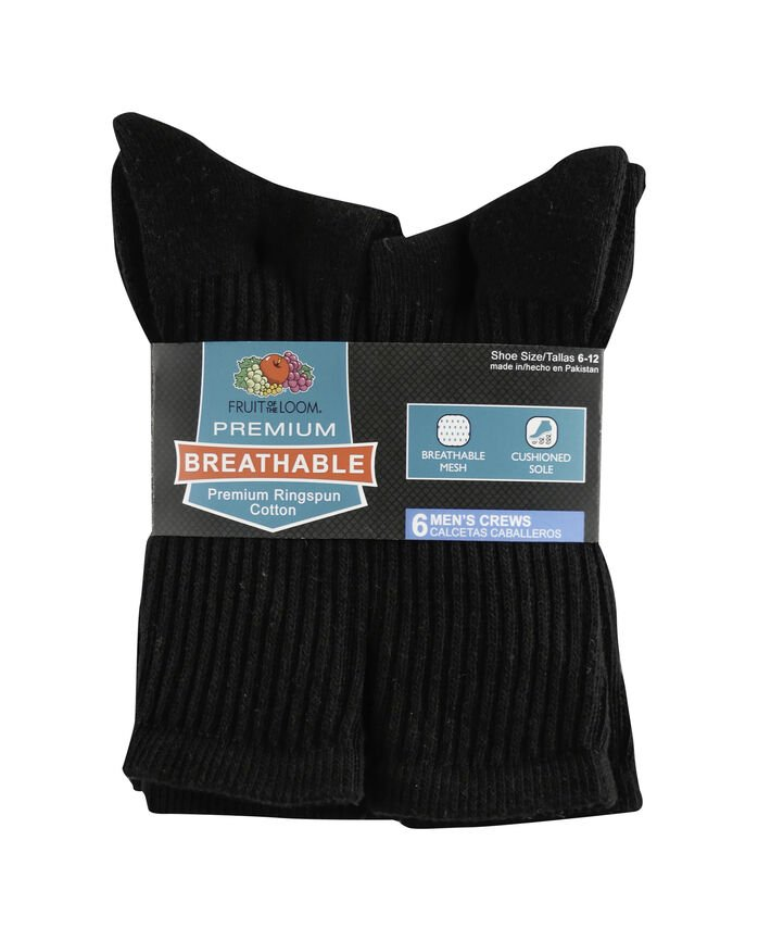 Men's Breathable Cotton Crew Socks, 6 Pack, Size 6-12