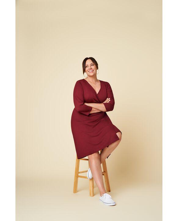 Women's Seek No Further Plus Size Ponte ¾ Sleeve V-Neck Wrap Dress Maroon