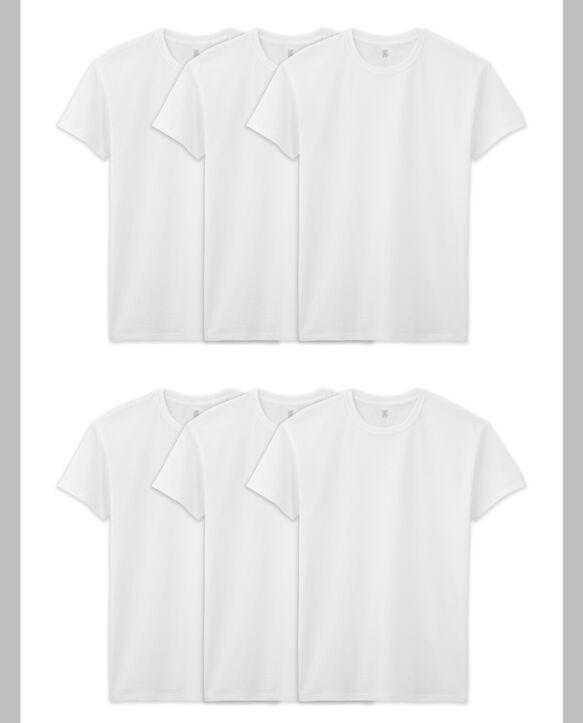 BVD Men's White Cotton Crew T-Shirt, 6 Pack