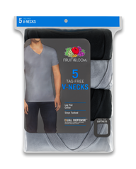 Men's Dual Defense Black/Gray V-Necks, 5 Pack ASSORTED