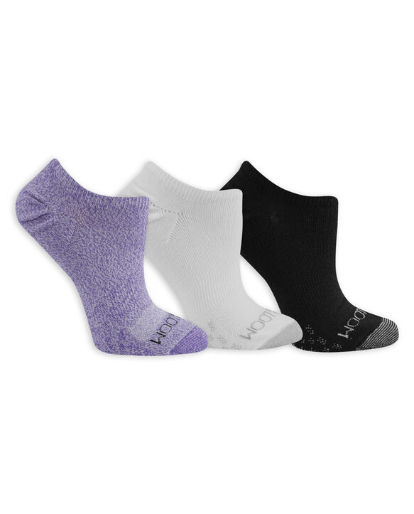 Women's On Her Feet Lightweight No Show Socks, 3 Pack, Size 4-10 WHITE, WHITE/PURPLE, BLACK