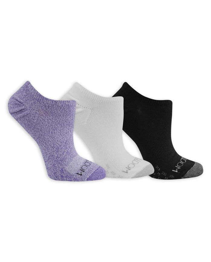 Women's On Her Feet Lightweight No Show Socks, 3 Pack, Size 4-10 WHITE, WHITE/PURPLE, BLACK