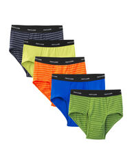 Men's 5 Pack Stripes / Solids Fashion Briefs Extended Sizes Assorted