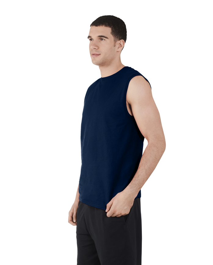 Men's Dual Defense® UPF Muscle Shirt, 1 Pack, Extended Sizes Navy