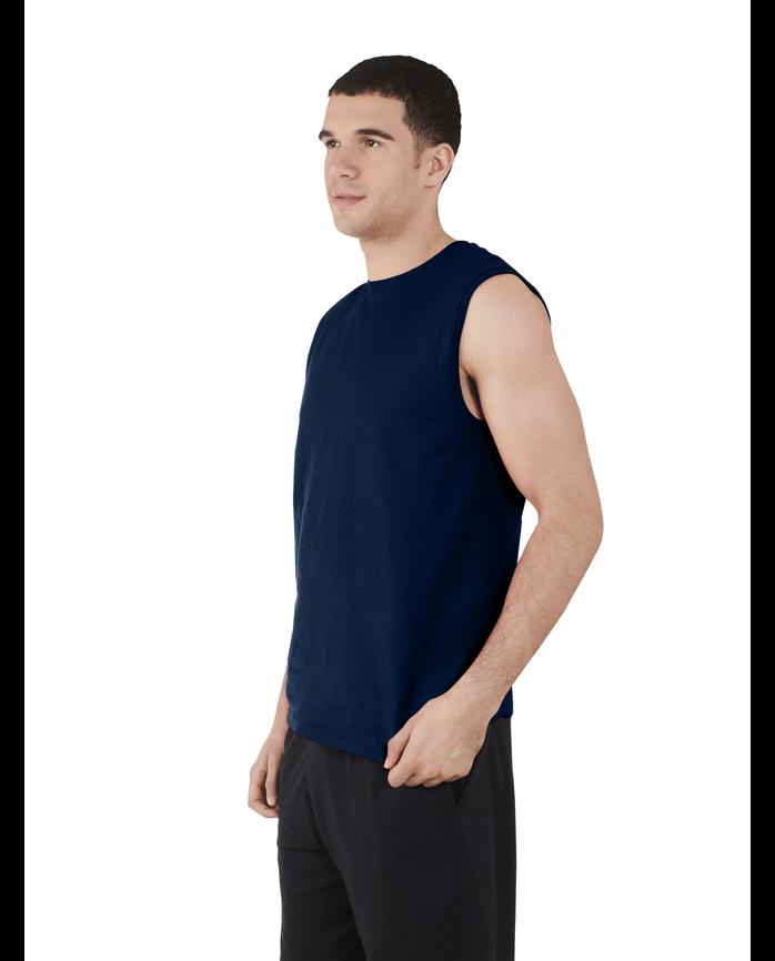 Men's Dual Defense UPF Sleeveless Muscle Shirt Navy