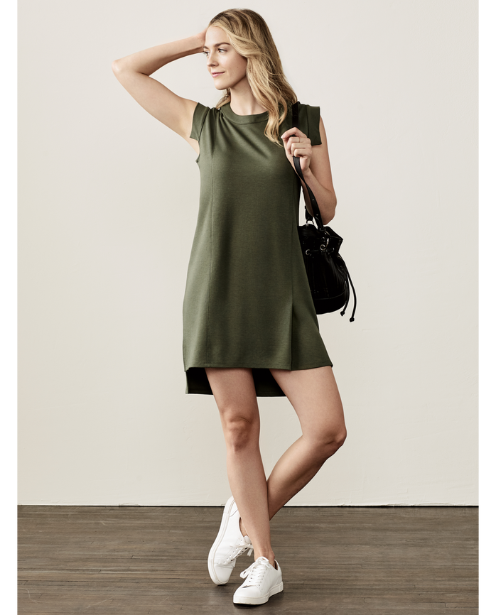 Women's Seek No Further® Pleated Ponte Shift Dress, 1 Pack Military Green