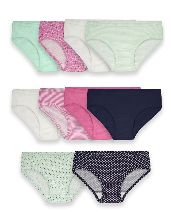 Girls' Assorted Cotton Hipster, 10 Pack ASSORTED