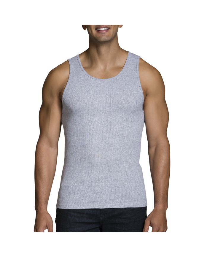 Men's Black/Gray A-Shirts, 4 Pack, Extended Sizes