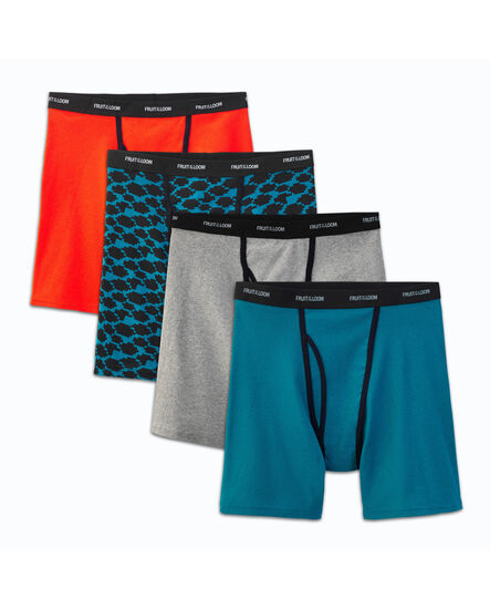 Men's 4 Pack Ringer Style Boxer Briefs Extended Sizes Assorted Color