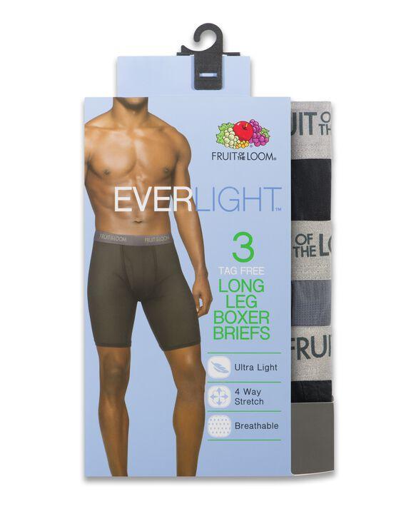Men's EverLight Long Leg Black/Gray Boxer Briefs, 3 Pack Assorted