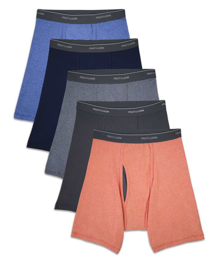 Men's CoolZone Fly Stripe and Solid Boxer Briefs, 5 Pack