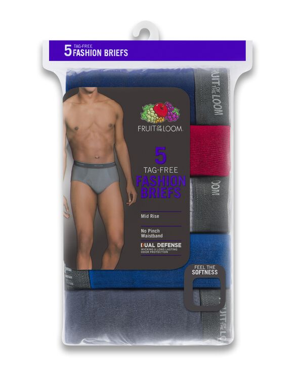 Men's Assorted Fashion Brief, 5 Pack, Extended Sizes Assorted