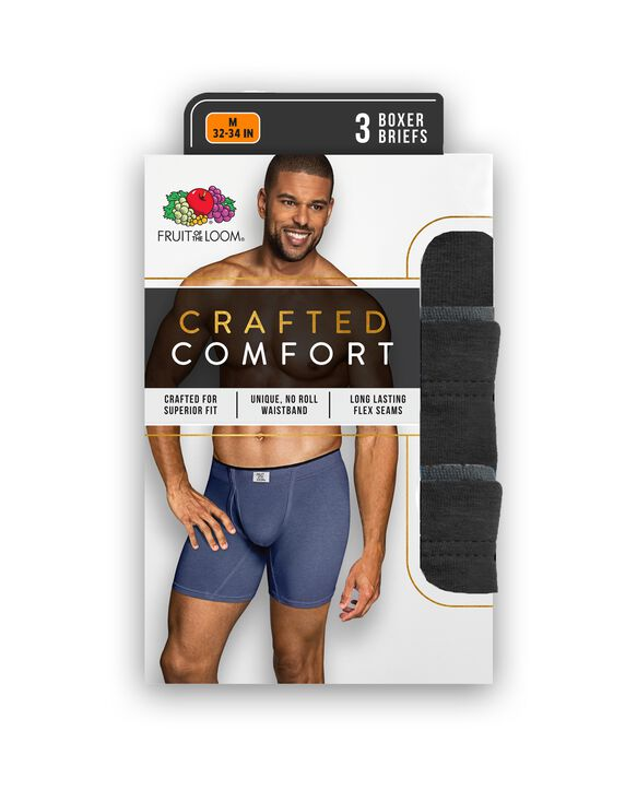 Men's Crafted Comfort  Fabric Covered Waistband Black Boxer Briefs, 3 Pack, Extended Sizes Black